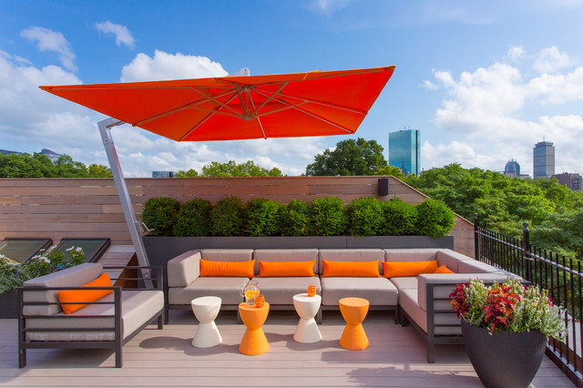 Cantilever Umbrella Deck Contemporary with Decking Horizontal Fence Orange Accents Orange Pillows Outdoor Furniture