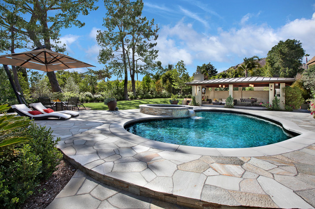 Cantilever Umbrella Pool Contemporary with Cabana Cantilevered Umbrella Chaise Curved Pool Flagstone Pool Deck