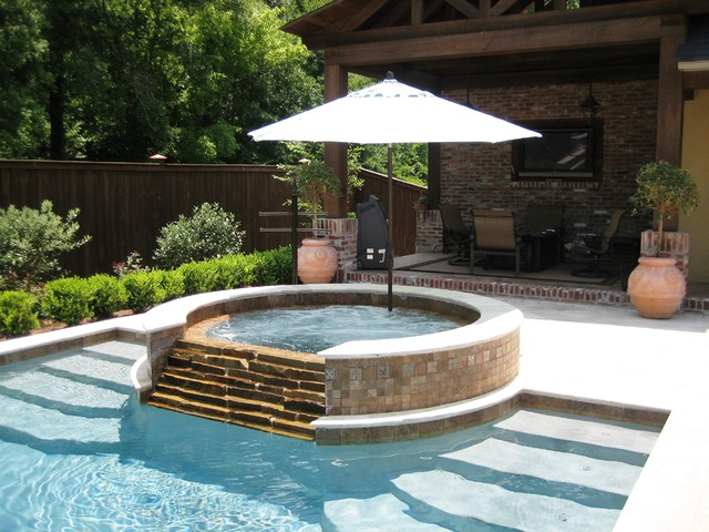 Cantilever Umbrella Pool Traditional with Brick Covered Patio Hot Tub Outdoor Lounge Outdoor Tv