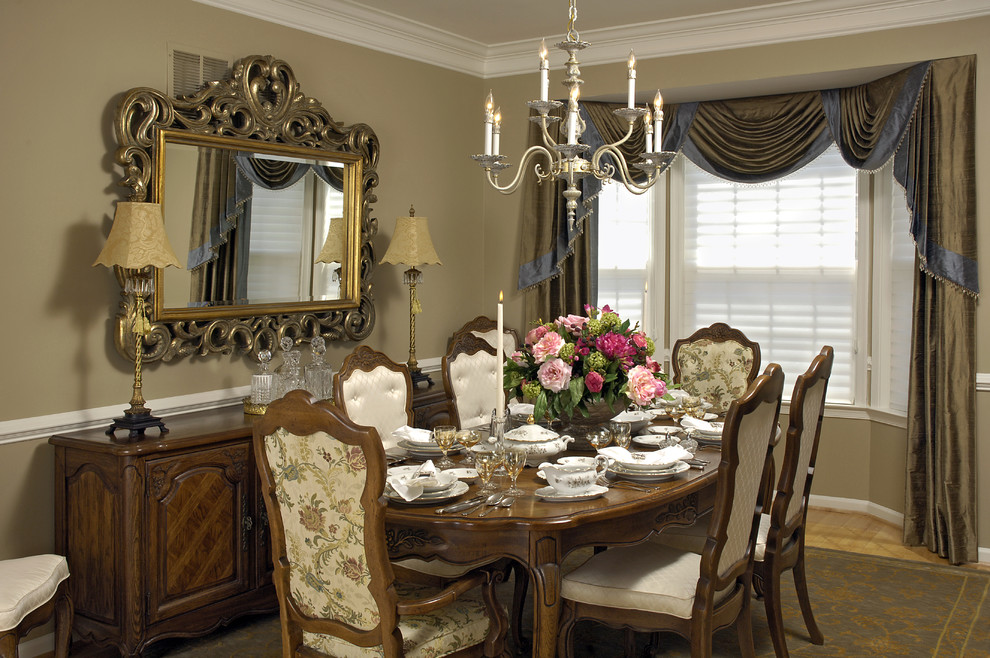 Capel Rugs Dining Room Traditional with Buffet Console Drapery Drapes Large Mirror Place