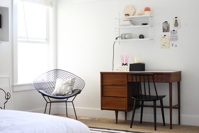 carpet cleaning boise Bedroom Scandinavian with accent chair baseboards desk chair midcentury modern minimal modern