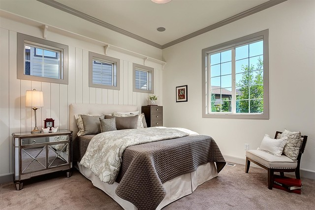 Carpet Cleaning Boise Bedroom Traditional with Gray Carpet Gray Trim Mirrored Nightstand Neutral Bedroom Side