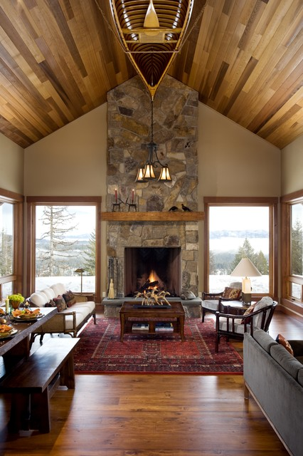 Carpet Cleaning Boise Living Room Rustic with Area Rug Bench Cabin Canoe Cedar Ceiling Canoe Chair