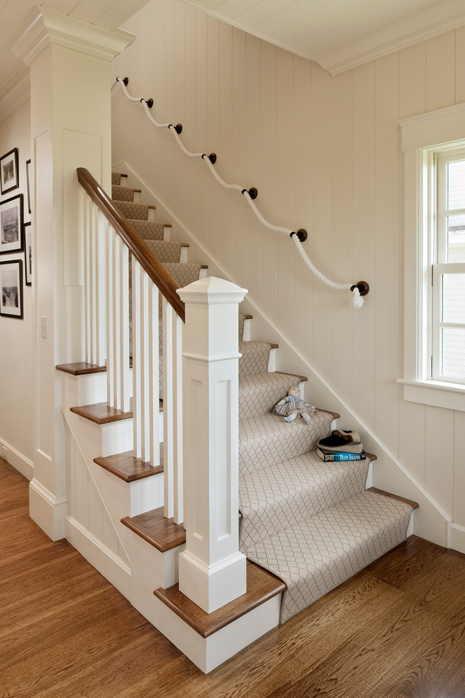 carpet runner for stairs Staircase Beach with carpet runner carpeted staircase hardwood floor nautical