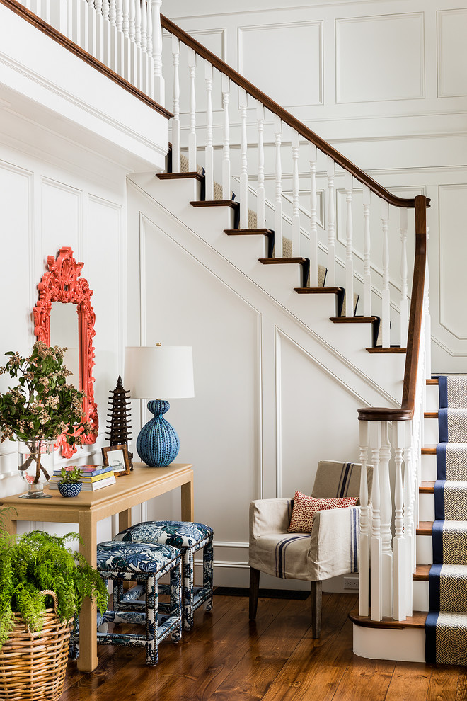 Carpet Runner for Stairs Staircase Victorian with Blue Ottoman Boston Colorful Console Table Coral1