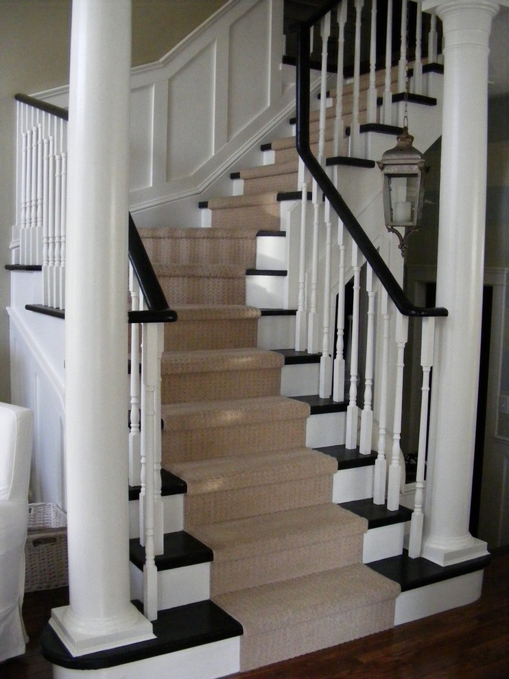 Carpet Runners for Stairs Staircase Traditional with Banister Black and White Carpet Runner Dark1