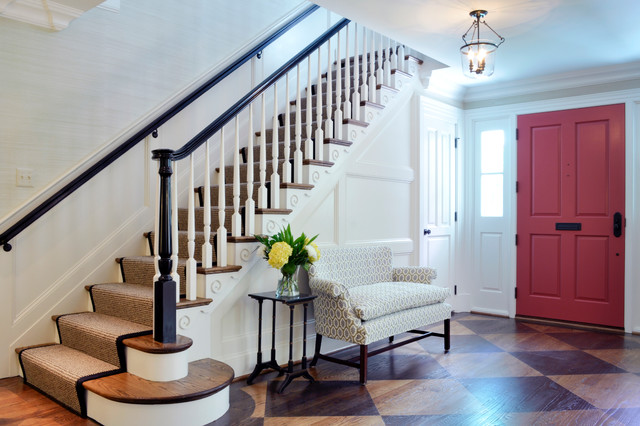 Carpet Stair Runners Entry Traditional with Black Banister Carpet Stair Runner Chair Rail Diamond Pattern