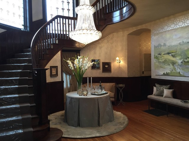 Carpet Stair Runners Staircase Contemporary with Chandeliers Curved Staircases Entry Foyer Stained Glass Windows Wallpaper