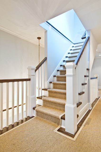 Carpet Stair Runners Staircase Traditional with Banister Carpet Border Crown Molding Dark Stained Wood Hallway