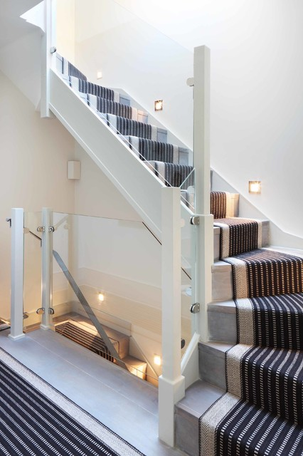 Carpet Treads Staircase Contemporary with Clean Curved Stairs Fresh Glass Guardrail Lighting Multi Level