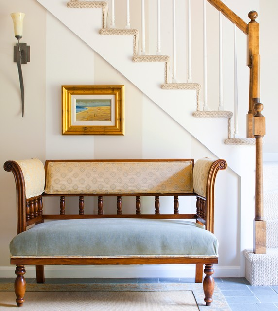 Carpet Treads Staircase Traditional with Antique Settee Beige Blue Cream Gold Gold Frame Natural