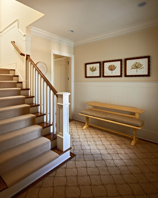 Carpeting Stairs Entry Traditional with Beige Carpet Runner Beige Column Beige Molding Beige Patterned1
