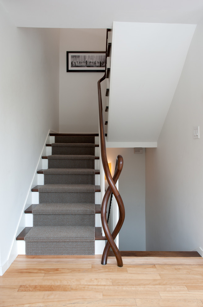 Carpeting Stairs Staircase Contemporary with Carpet Stair Runner Curved Banister Dark Wood