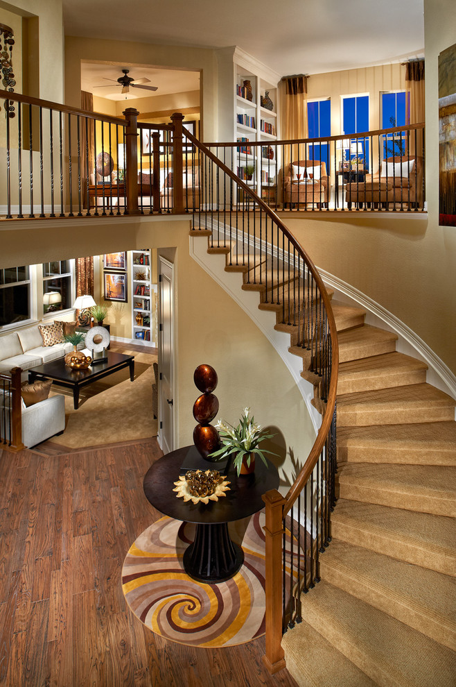 Carpeting Stairs Staircase Traditional with Beige Carpet Beige Wall Built in Bookcase Built In