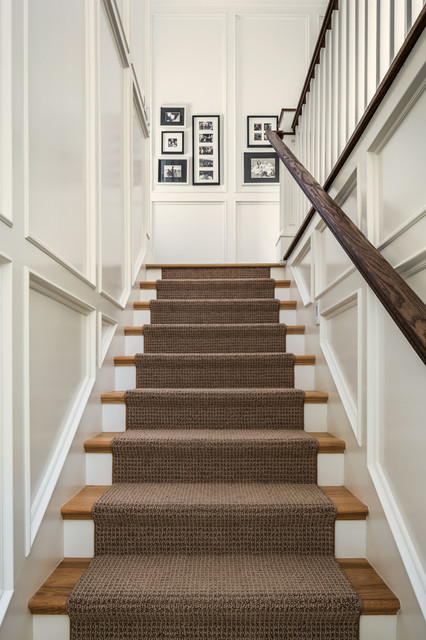 Carpeting Stairs Staircase Traditional with Black and White Photography Brown Runner Recessed Panel Rug1