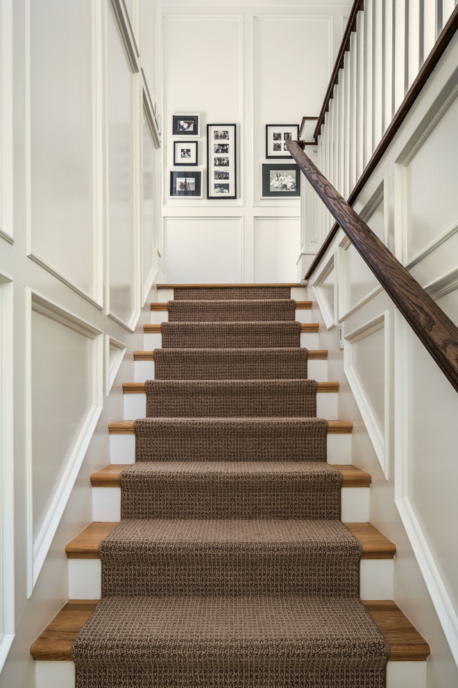 Carpeting Stairs Staircase Traditional with Black and White Photography Brown Runner Recessed