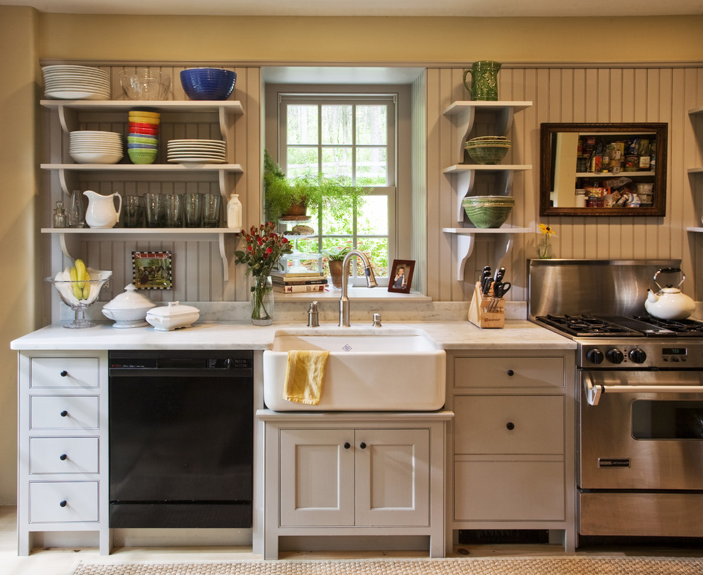 Carrara Marble Countertop Kitchen Traditional with Apron Sink Beadboard Beaded Board Paneling Carerra