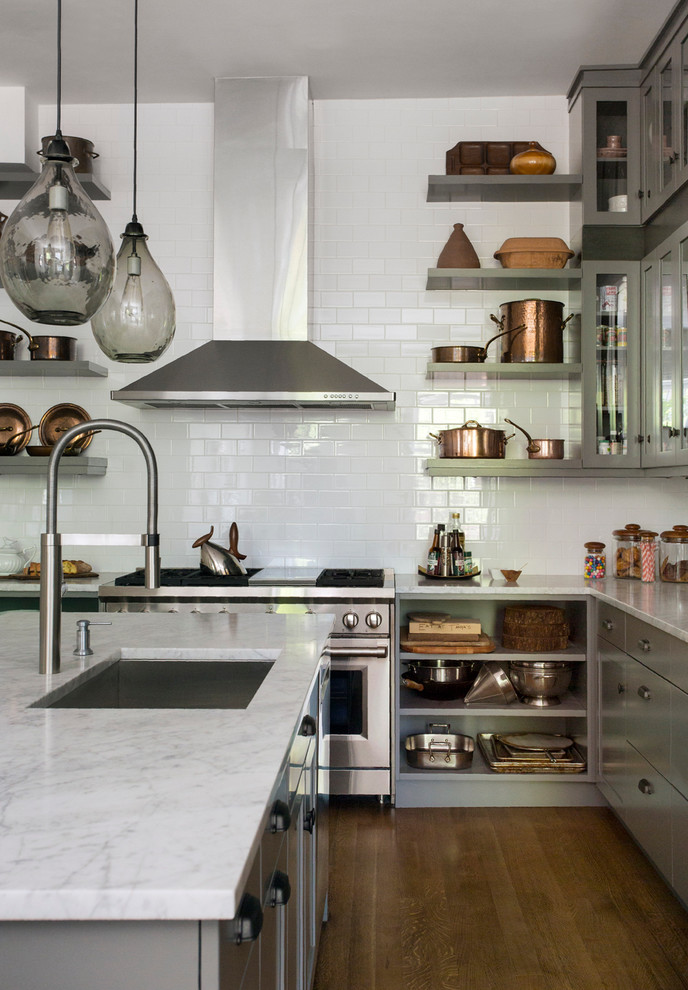 Carrara Marble Countertop Kitchen Transitional with Copper Full Wall Tile Glass Front Cabinets