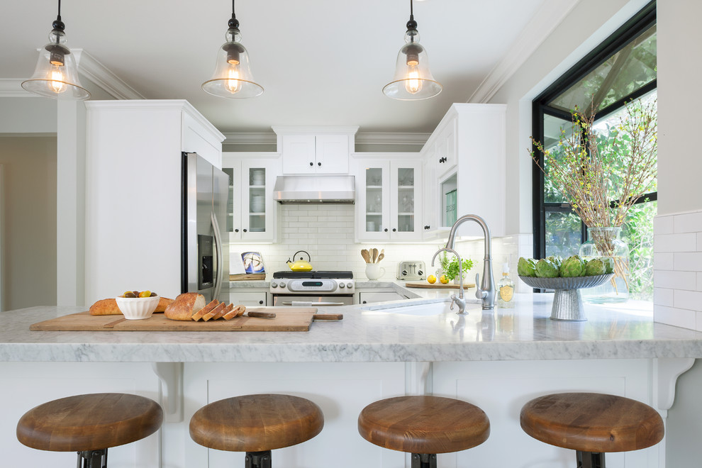 Carrara Marble Countertop Spaces Eclectic with Beth Dana Design Carrera Marble Dining Chairs