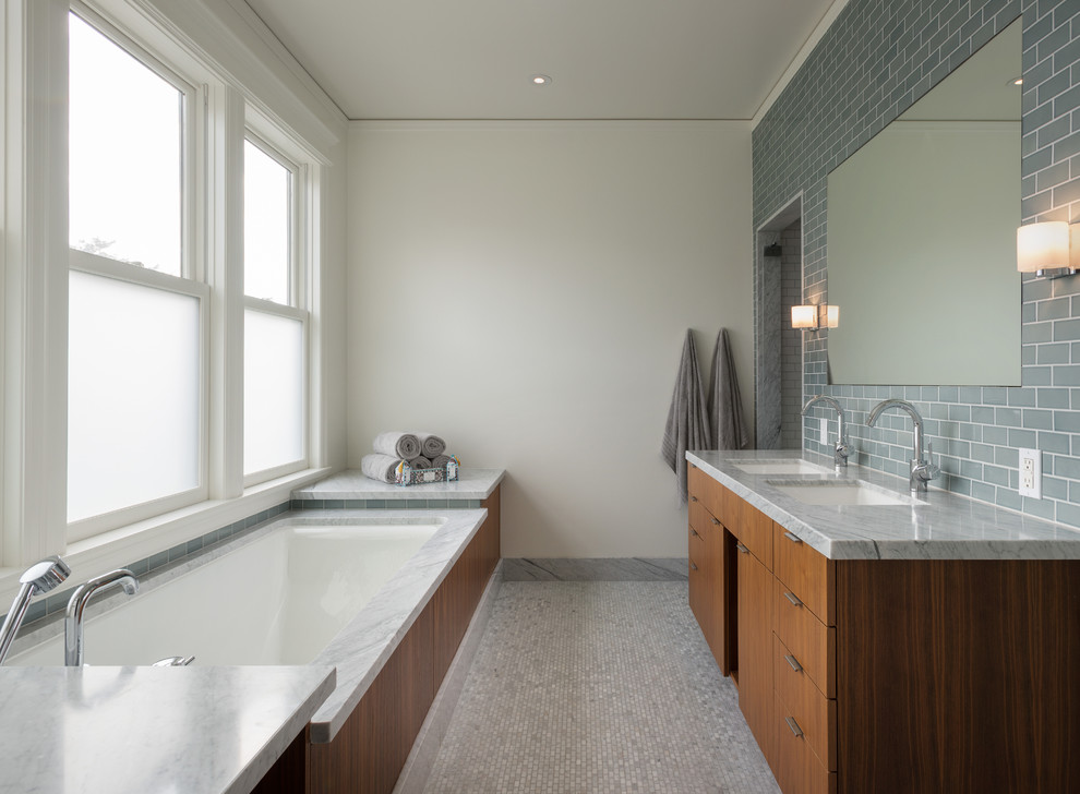Carrara Marble Subway Tile Bathroom Contemporary with Blue Tile Wall Frosted Glass Windows Gray