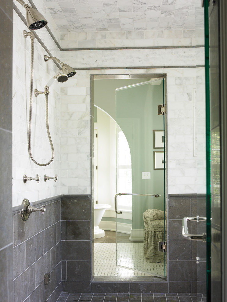 carrara marble subway tile bathroom with double shower heads marble tiles neutral colors - Marble Subway Tile