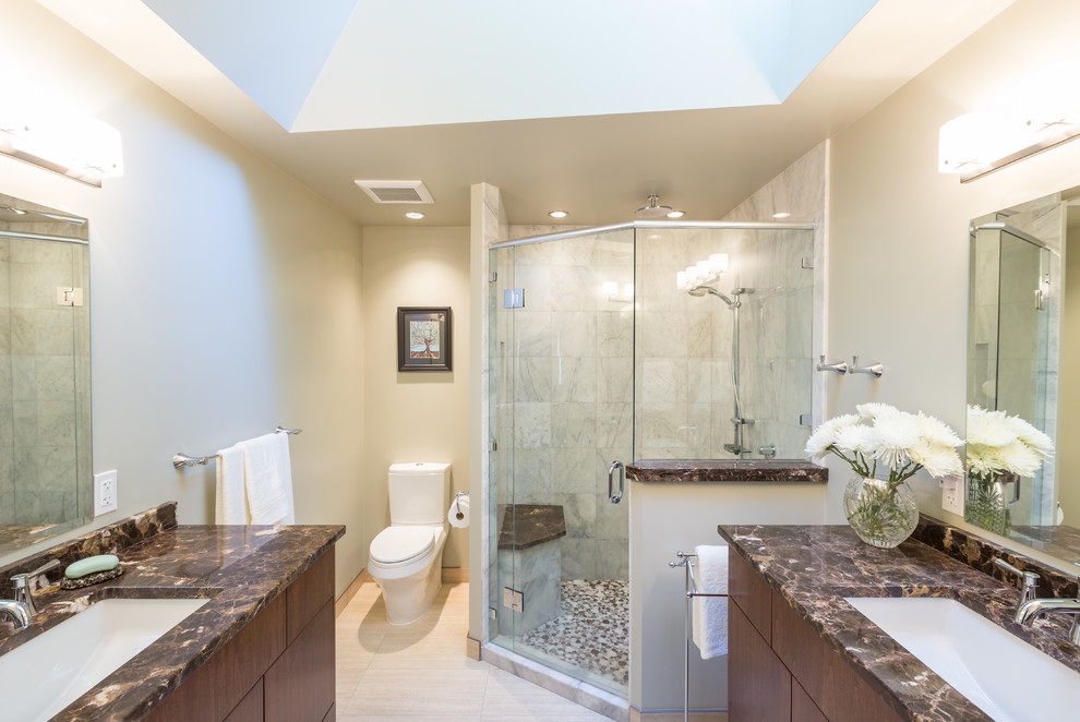 Carrara Marble Tile Bathroom Contemporary with Chrome Finishes Double Sinks Glass Shower His