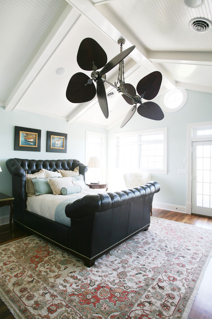 Casablanca Fan Company Bedroom Traditional with Area Rug Baseboards Bedside Table Blue and Brown Clerestory