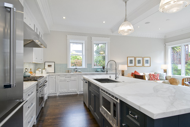 Cascade Dishwasher Cleaner Kitchen Traditional with Custom Woodwork Frame and Panel Cabinets Gray Hood Island