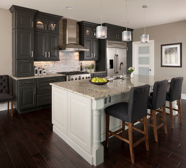 Cascade Dishwasher Cleaner Kitchen Transitional with Dark Wood Floors Glass Front Cabinets Gray and White