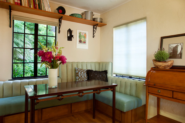cast iron shelf brackets Dining Room Eclectic with banquette built in bench centerpiece corner My Houzz seat
