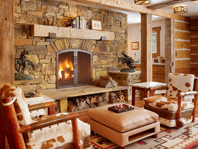 Cast Iron Shelf Brackets Living Room Rustic with Ceiling Lights Chinking Cowboys Cowhide Fireplace Firewood Storage Hearth