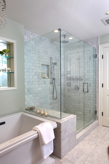 Cast Iron Shower Pan Bathroom Traditional with Bath Frameless Glass Shower Glass Shower Marble Shower Soaker