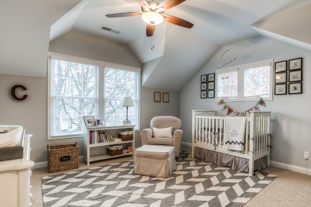 Castro Convertible Nursery Traditional with Area Rug Armchair Baby Room Baskets Bookshelf Carpet Ceiling