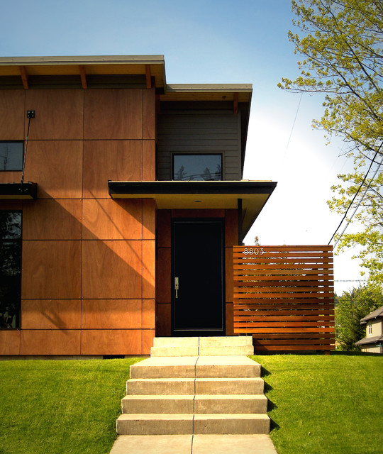 Cedar Fence Panels Exterior Contemporary With Concrete Paving Entrance Entry  Flat Roof Front Door Grass