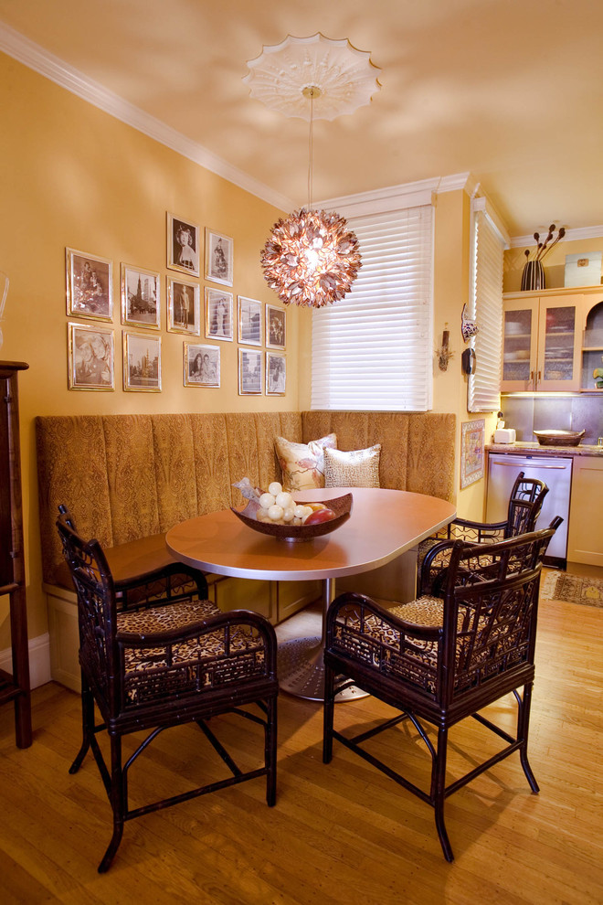 Ceiling Medallion Dining Room Traditional with Armchairs Asian Bamboo Chairs Banquette Booth Ceiling