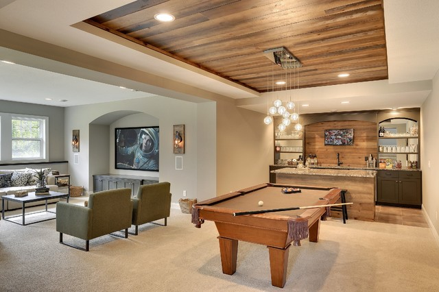 Ceiling Mounted Pull Up Bar Family Room Transitional with Archways Box Vault Ceiling Chandelier Contemporary Chandelier Custom Home