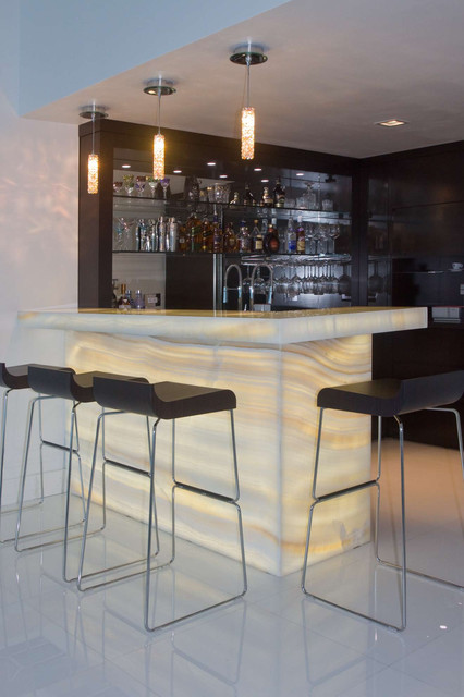 Ceiling Mounted Pull Up Bar Home Bar Contemporary with Backlit Bar Ceiling Lighting Glossy Floor Home Bar Onyx