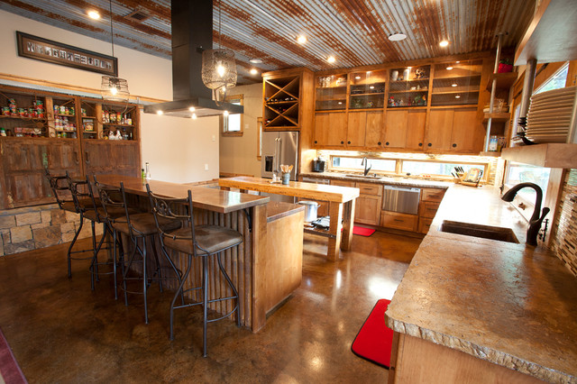 Ceiling Mounted Pull Up Bar Kitchen Rustic with Alder Alder Cabinets Barn Doors Barn Tin Concrete Concrete