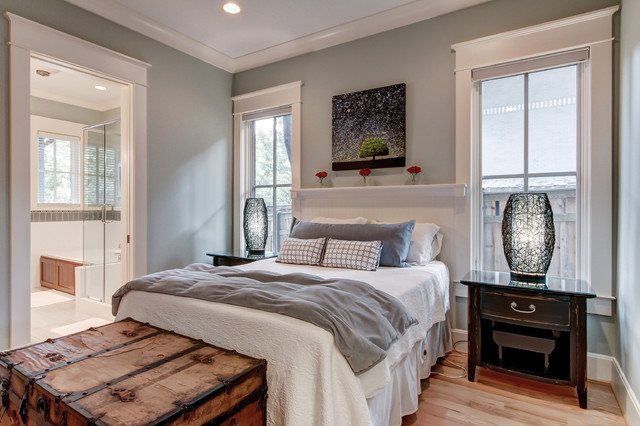 cellular blinds Bedroom Contemporary with antique trunk black table lamp Built In Headboard dark