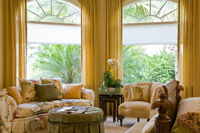 Cellular Blinds Bedroom Tropical with Arched Windows Armchair Carpet Foot of Bed Gold Curtains