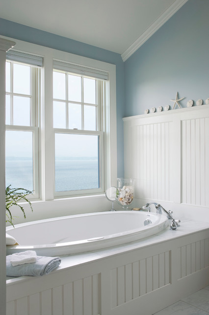 Cellular Blinds Spaces Beach with Dreamy Light Blue Walls Seashells Starfish Three Wall Alcove