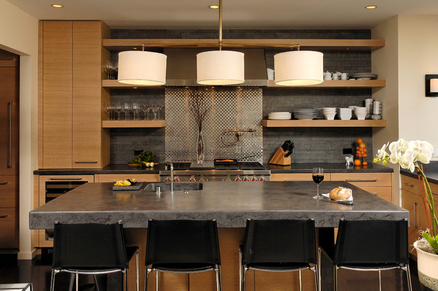 Cement Countertops Kitchen Contemporary with Clean Lines Counter Stools Dinnerware Glassware Pendant Lighting Range