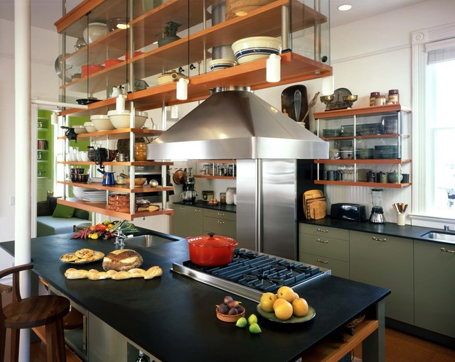 cement countertops Kitchen Industrial with green cabinets kitchen island kitchen island with sink modern