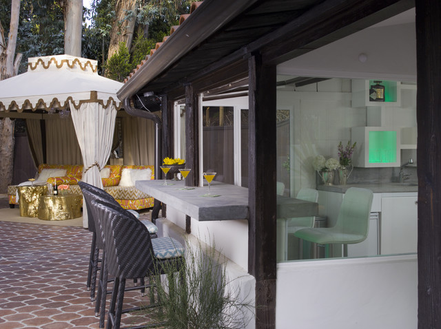 Cement Countertops Patio  Mediterranean With Cabana Concrete Countertops Gold Accents Lounge Outdoor  Kitchen Outdoor