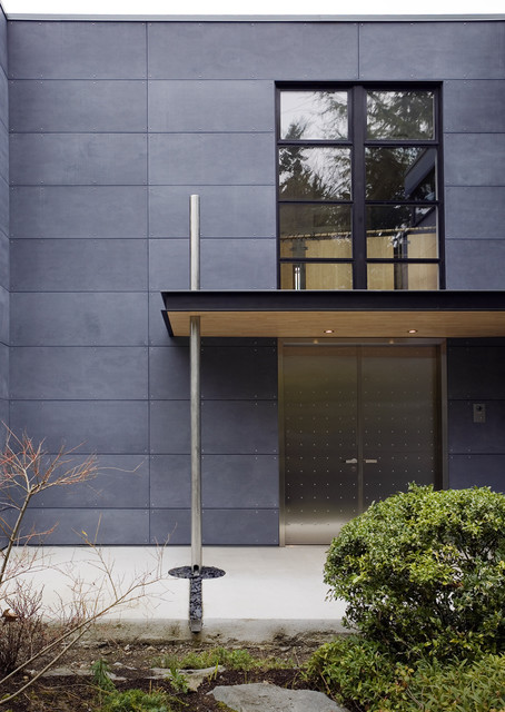 Cement Fiber Siding Exterior Contemporary with Cembonit Siding Cement Board Siding Dark Cement Paneling Downspout