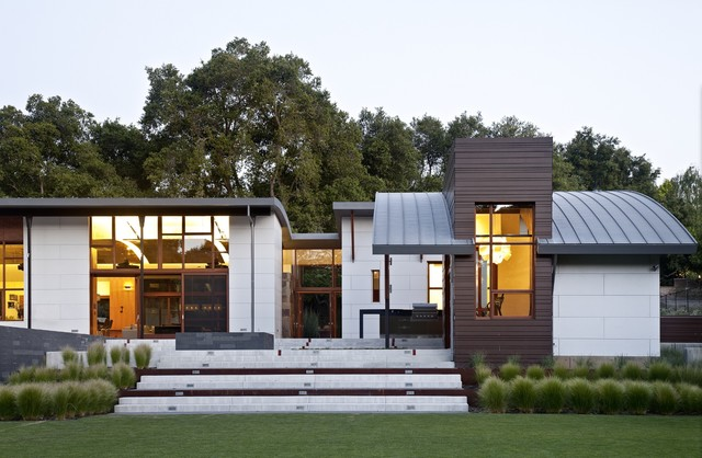 Cement Fiber Siding Exterior Contemporary with Arched Metal Roof Cementitious Panels Floor to Ceiling Windows