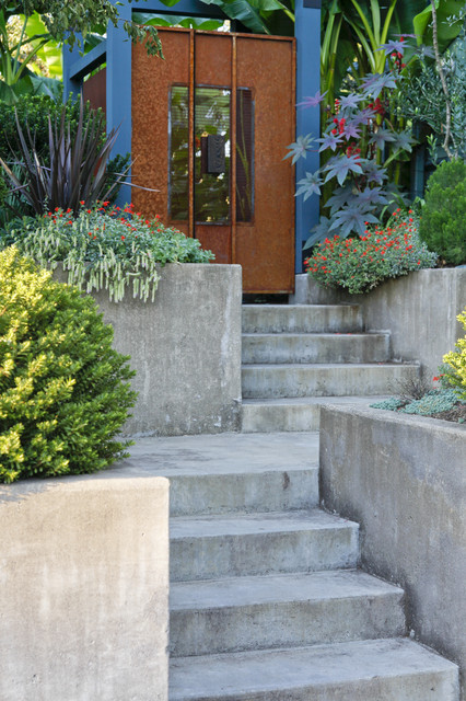 Cement Planters Landscape Modern with Built in Stairs Concrete Paving Entrance Entry Garden Gate