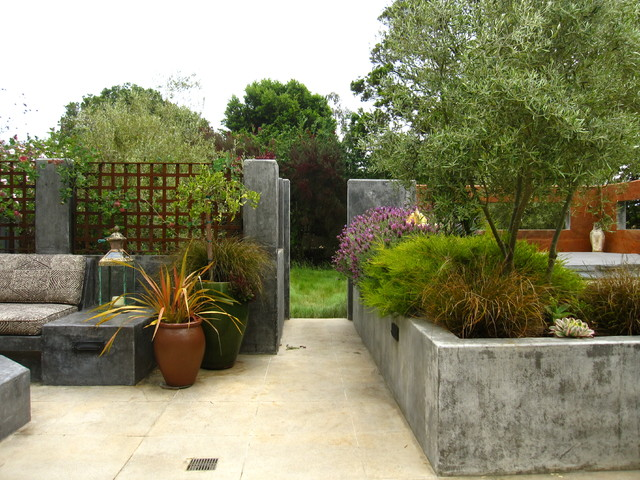 Cement Planters Patio Contemporary with Built in Furniture Concrete Planters Container Plants Garden Fencing