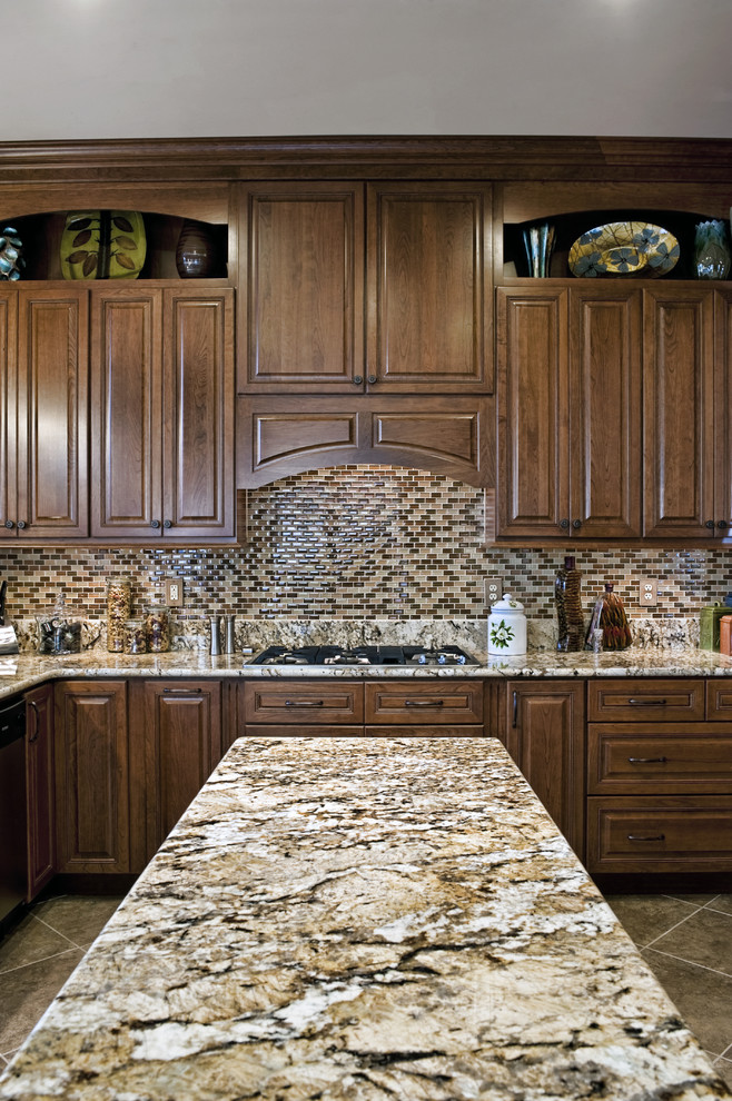 ceramic canisters Kitchen Traditional with brown brown tile Cabinetry cabinets canister set
