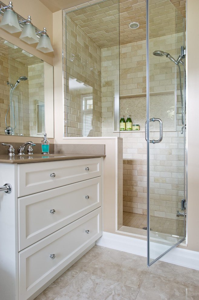 Cerdomus Tile Bathroom Traditional with Bathroom Beige Subway Tile Wall Dining Room